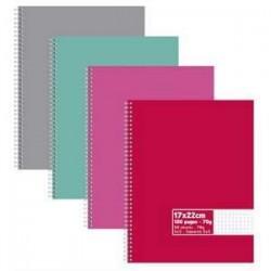 Cahier à spirales - Neutre -- 100 pages -- 5x5 petits carreaux - 17 x 22