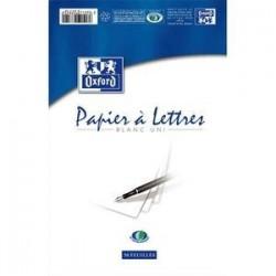 Bloc correspondance - Oxford - A4 21x29,7 - 50 feuilles unies - vélin 80g - guide ligné