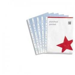 100 Pochette perforées  A4  - polypropylène 9/100ème- 5 Etoiles - lisse - cristal - incolore - Perforation 11 trous