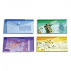 Enveloppe polypro. 2/10è - Velcro - Format chéquier - Assortis- TARIFOLD