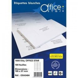 Boîte .1600 Etiquettes adhésives Blanches - 105X35mm - OS43423 - OFFICE STAR