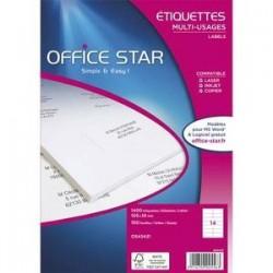 Boîte 1400 Etiquettes adhésives Blanches - 99,1X38.1mm -OS43437 -OFFICE STAR
