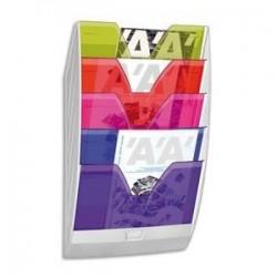 Présentoir mural de 5 cloisons multicolores - (lxhxp) 35x58,4x12cm - CEP