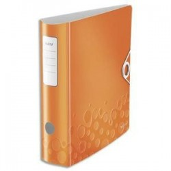 Classeur à levier WOW - Dos rond de 7,5cm -Polypro.-  31,8x31,4 - Orange - LEITZ