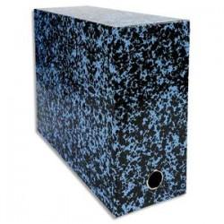 EXACOMPTA Boîte transfert marbrée Anoney, carton rigide recouvert papier vernis bleu, dos 12cm, 34x25,5cm