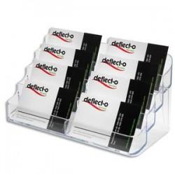 DEFLECTO Porte-cartes de visite 2x4 compartiments - Dimensions L20 x H9,9 x P9,2 cm coloris transparent