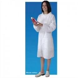 HYGIENE Lot de 5 Blouses visiteur blanche non-tissé 100% polypropylène à boutons, 2 poches taille unique