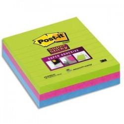 POS-IT Lot de 3 blocs Notes Super Sticky 101x101mm 70 feuilles lignées. Coloris vert, fushia, bleu
