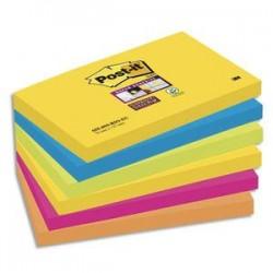 POST-IT Lot de 6 blocs Super Sticky Rio 90 feuilles 76x127 mm, jaune, bleu, vert, fuchsia, orange