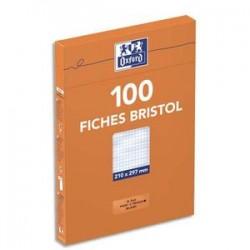 OXFORD Eui distributeur de 100 fiches bristol 100 fiches bristol perforées A4 5x5 blanc