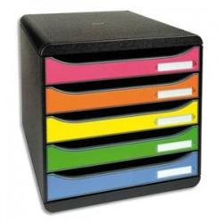 EXACOMPTA Module de classement 5 tiroirs BIG BOX - Dim : L27,8 x H26,7 x P34,7 cm. Coloris noir/arlequin