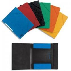 ELBA Chemise 3 rabats à élastique BOSTON en carte lustrée 5/10e. Pour format A4. Coloris assortis/noir