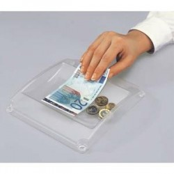 SIGEL Ramasse-monnaie Standard en plastique - Dimensions : L19,4 x H3 x P18,5 cm coloris transparent