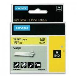 DYMO Ruban RHINO 12mmx5,5m Noir/Jaune Vinyle flexible et résistant S0718450/18432