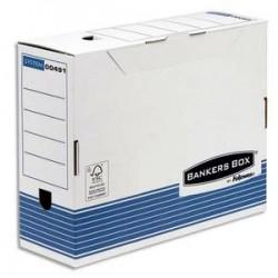 BANKERS BOX Boîte archives dos 10cm SYSTEM, montage automatique, carton recyclé blanc/bleu