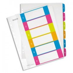 LEITZ Intercalaires numérique imprimables WOW 6 touches, format A4+, en polypro translucide assortis