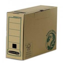 BANKERS BOX Boîte archives dos 15 cm EARTH SERIES. Montage manuel, carton recyclé kraft brun