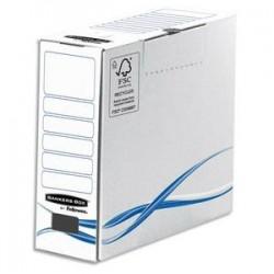 BANKERS BOX Boîte archives dos de 8cm BASIQUE, montage manuel, en carton blanc/bleu