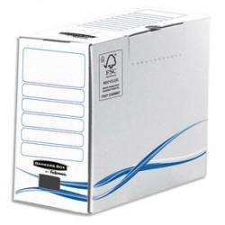 BANKERS BOX Boîte archives dos de 15cm BASIQUE, montage manuel, en carton blanc/bleu
