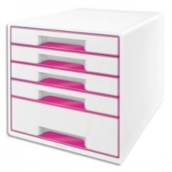 LEITZ Bloc de classement 5 tiroirs, blanc laqué et tiroirs - WOW rose - L29 x H36 x P 37 cm