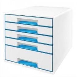 LEITZ Bloc de classement 5 tiroirs, blanc laqué et tiroirs - WOW bleu - L29 x H36 x P 37 cm