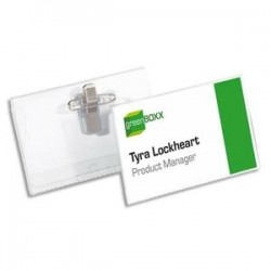 DURABLE Boîte de 50 Portes-badge + pince Combi double fixation + bristol Format L9 x P5,4 cm transparent