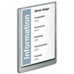 DURABLE Plaque de porte CLICKSIGN Gris en ABS - Fiche Bristol fournie, L 21 x H 29,7 cm