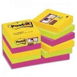 POST-IT Lot de 12 blocs Super Sticky Rio 90 feuilles 47,6x47,6mm, coloris jaune néon, vert néon, fuchsia