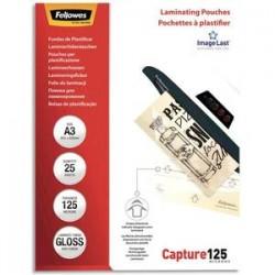FELLOWES Paquet de 25 pochettes de plastification A3 125 microns 53965