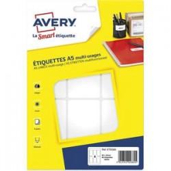 AVERY Sachet de 96 étiquettes multi-usage blanches 80 x 45 mm. Planche format A5. ETE006