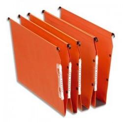 ESSELTE Boîte de 25 dossiers suspendus DUAL ARMOIRE en kraft 240g. Fond V, volet agrafage. Orange