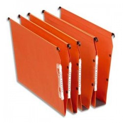ESSELTE Boîte de 25 dossiers suspendus DUAL ARMOIRE en kraft 240g. Fond 15, volet agrafage. Orange