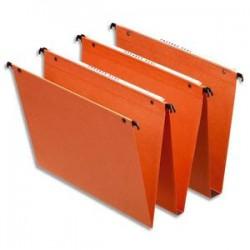 ESSELTE Boîte de 25 dossiers suspendus DUAL TIROIR en kraft 240g. Fond 15, volet agrafage. Orange