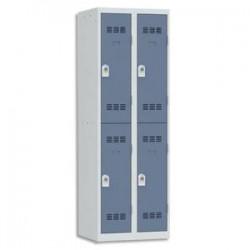 VINCO Vestiaire 2 Cases + 2 Colonnes - Dimensions : L60 x H180 x P50 cm gris perle bleu