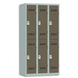 VINCO Vestiaire 2 Cases + 3 Colonnes - Dimensions : L90 x H180 x P50 cm gris perle basalte