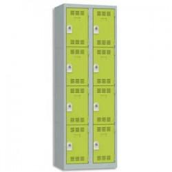 VINCO Vestiaire 4 Cases + 2 Colonnes - Dimensions : L60 x H180 x P50 cm gris perle anis