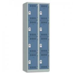 VINCO Vestiaire 4 Cases + 2 Colonnes - Dimensions : L60 x H180 x P50 cm gris perle bleu