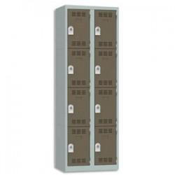VINCO Vestiaire 4 Cases + 2 Colonnes - Dimensions : L60 x H180 x P50 cm gris perle basalte