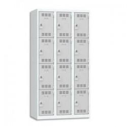 VINCO Vestiaire 4 Cases + 3 Colonnes - Dimensions : L90 x H180 x P50 cm gris perle