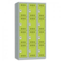 VINCO Vestiaire 4 Cases + 3 Colonnes - Dimensions : L90 x H180 x P50 cm gris perle anis