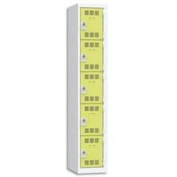 VINCO Vestiaire 5 Cases + 1 Colonne - Dimensions : L30 x H180 x P50 cm gris perle anis