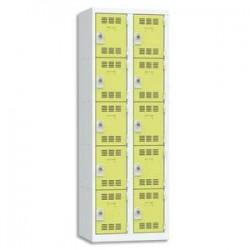 VINCO Vestiaire 5 Cases + 2 Colonnes  - Dimensions : L60 x H180 x P50 cm gris perle anis