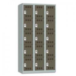 VINCO Vestiaire 5 Cases + 3 Colonnes - Dimensions : L90 x H180 x P50 cm gris perle basalte