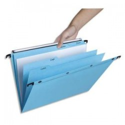 OBLIQUE AZ Paquet de 5 dossiers suspendus TIROIR 5 onglets en kraft 240g. Fond V, bouton-pression. Bleu