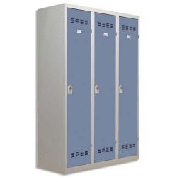 PIERRE HENRY Vestiaire métal industrie sale 3 casiers largeur 120 cm gris perle bleu