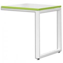MT INTERNATIONAL Retour bureau MT1 élégance blanc chant vert piétement blanc - Dim L80 x H75 x P60 cm