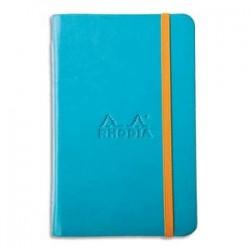 RHODIA Carnet RHODIArama 9x14cm 192 pages lignées. Couverture rembordée turquoise
