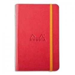RHODIA Carnet RHODIArama 9x14cm 192 pages lignées. Couverture rembordée coquelicot