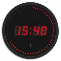 ALBA Horloge à led Horled cadre plastique noir lentille en verre D30cm affichage numérique rouge à quartz
