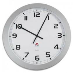 ALBA Horloge murale géante Horgiant contour ABS D60 cm gris, chiffres noirs lentille en verre à quartz